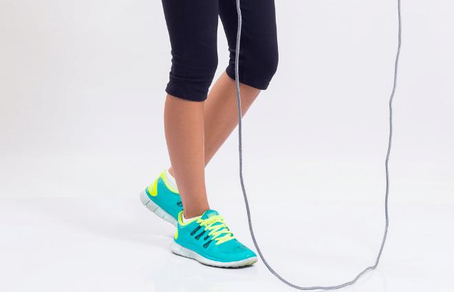 woman preparing to jump rope