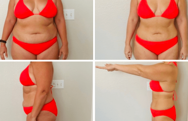 Chrystal in orange bikini before and after in front facing position and side facing position.