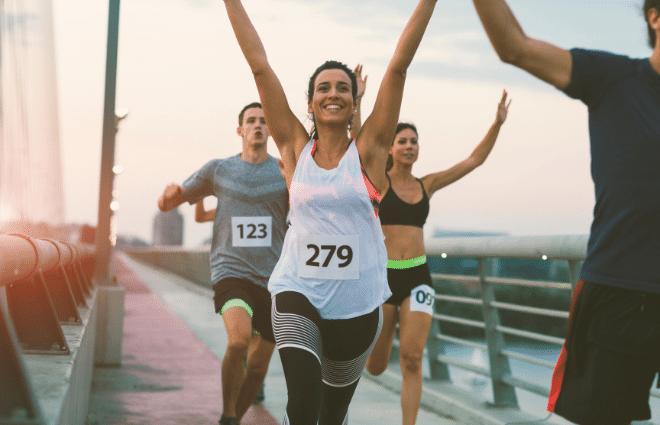 Runners feeling runner's high after race